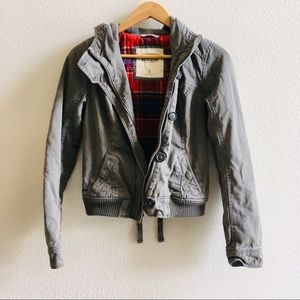 HOLLISTER gray canvas hooded jacket S